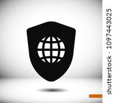 shield icon  stock vector... | Shutterstock .eps vector #1097443025