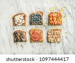 healthy breakfast or snack.... | Shutterstock . vector #1097444417