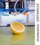 ripe slice of yellow lemon... | Shutterstock . vector #1097449115