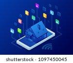 isometric smart home technology ... | Shutterstock .eps vector #1097450045
