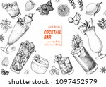 alcoholic cocktails hand drawn... | Shutterstock .eps vector #1097452979