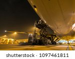outside cargo plane loading | Shutterstock . vector #1097461811