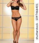 perfect body woman in underwear ... | Shutterstock . vector #1097466401