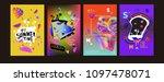 colorful summer poster set....   Shutterstock .eps vector #1097478071