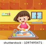 a girl cleaning dish at kitchen ... | Shutterstock .eps vector #1097495471