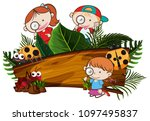 kids exploring the nature... | Shutterstock .eps vector #1097495837