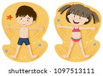 boy and girl playing sand... | Shutterstock .eps vector #1097513111