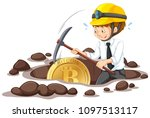 an office worker mining bitcoin ... | Shutterstock .eps vector #1097513117