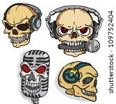 set of rock music skulls in...   Shutterstock .eps vector #109752404