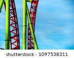 colorful looping roller coaster ... | Shutterstock . vector #1097538311