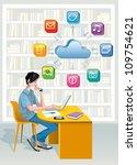 a teenage boy sitting in a... | Shutterstock .eps vector #109754621