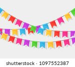 banner with garland of colour...   Shutterstock .eps vector #1097552387