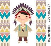 American Indians Kawaii Boy In...