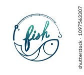 fish in fishing rod frame... | Shutterstock .eps vector #1097563307