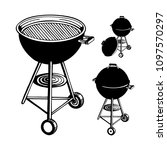hand drawn barbecue grills...   Shutterstock .eps vector #1097570297