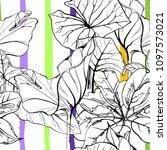 tropical  modern stripes motif. ... | Shutterstock .eps vector #1097573021