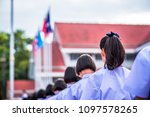hight school students stand in... | Shutterstock . vector #1097578265