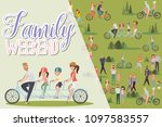 happy family weekend poster.... | Shutterstock .eps vector #1097583557