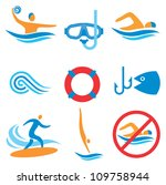 colorful icons with water sport ... | Shutterstock .eps vector #109758944