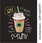 mocha coffee illustration with... | Shutterstock .eps vector #1097600597