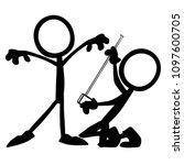 stick figure measure tailor | Shutterstock .eps vector #1097600705