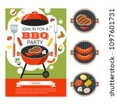 barbecue party. colorful... | Shutterstock .eps vector #1097601731