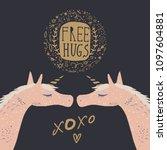 hand drawn pink unicorns  free...   Shutterstock .eps vector #1097604881