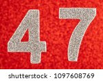 number forty seven silver color ... | Shutterstock . vector #1097608769