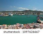 seaport and city ashore. ibiza  ...   Shutterstock . vector #1097626667