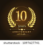 10th gold anniversary... | Shutterstock .eps vector #1097627741