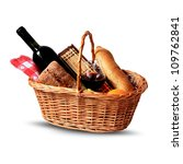 Basket For Picnic With Wine ...