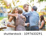 guests congratulating bride and ... | Shutterstock . vector #1097633291