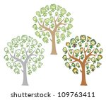 trees of family with happy kids   Shutterstock .eps vector #109763411