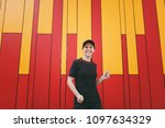 young laughing athletic...   Shutterstock . vector #1097634329
