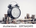 clock and rows of coins for...   Shutterstock . vector #1097642495