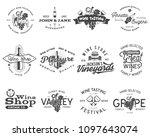 wine black logos  labels set.... | Shutterstock . vector #1097643074