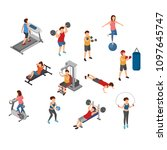 isometric gym  workout ... | Shutterstock .eps vector #1097645747