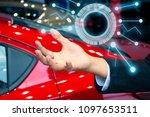 man business holding tecnology...   Shutterstock . vector #1097653511
