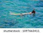 people enjoying snorkelling... | Shutterstock . vector #1097663411