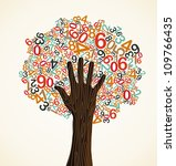 School education concept tree made with numbers and human hand. Vector file layered for easy manipulation and custom coloring. - stock vector