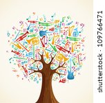 abstract musical tree made with ... | Shutterstock .eps vector #109766471
