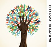 isolated diversity tree hands... | Shutterstock .eps vector #109766645