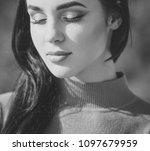 women face skin care. portrait...   Shutterstock . vector #1097679959