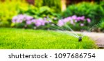 automatic sprinkler system watering the lawn - stock photo
