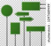 realistic blank green street... | Shutterstock . vector #1097689499