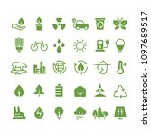 green ecology icons. clean... | Shutterstock . vector #1097689517
