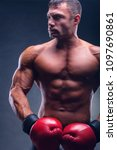 boxing concept. handsome boxer...   Shutterstock . vector #1097690861