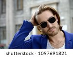 handsome young man in... | Shutterstock . vector #1097691821
