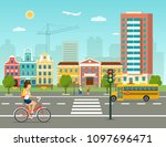 city life set with school bus  ... | Shutterstock .eps vector #1097696471