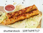 grilled minced chicken kebab... | Shutterstock . vector #1097699717